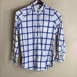 J crew factory boy fit button down flannel top